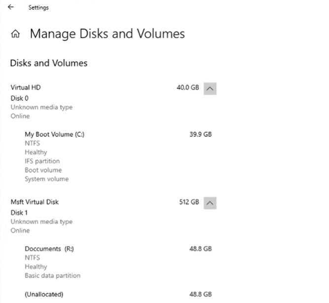 Manage disks and volumes
