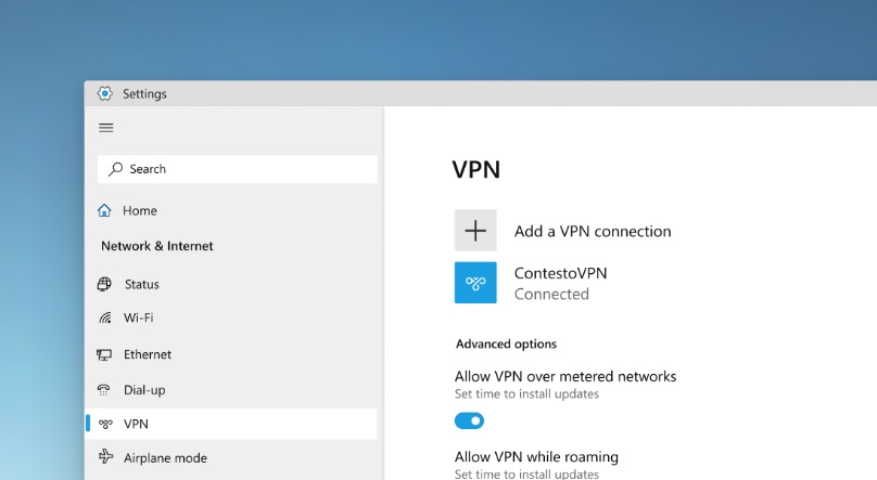 Windows 10 VPN design mockups