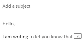 Outlook text suggestion