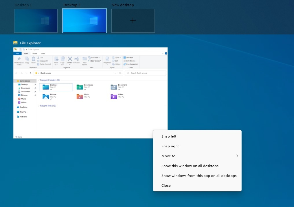 Windows 10 Task View rounded corners