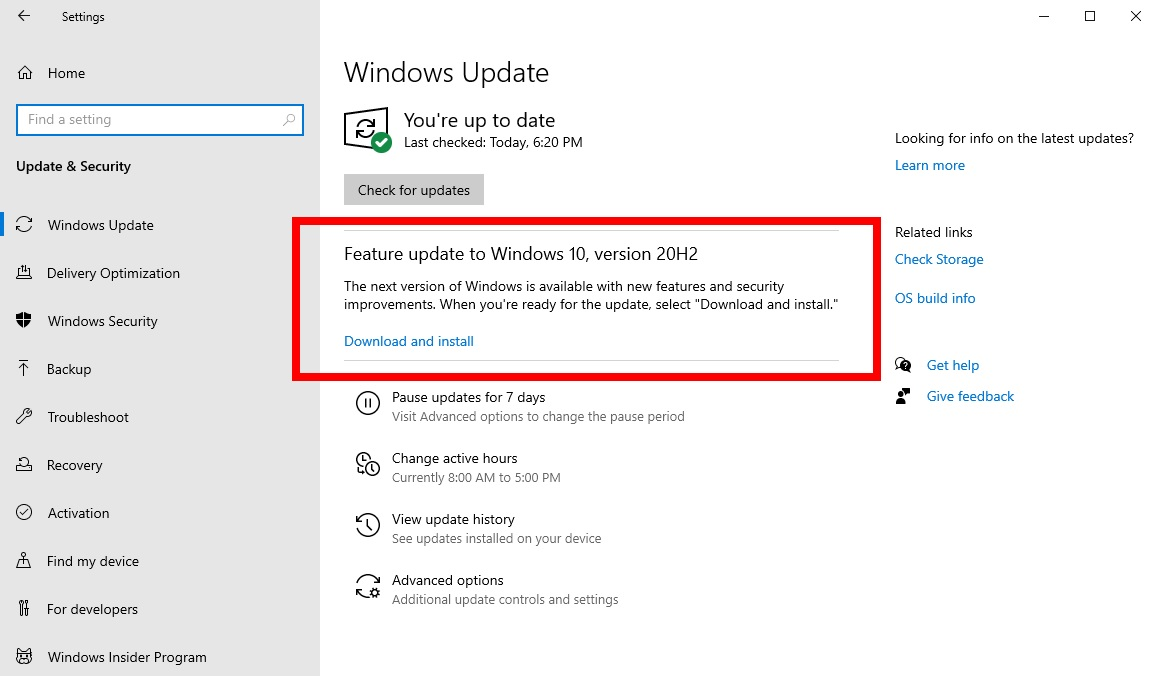 Windows 10 20H2 Release Ring