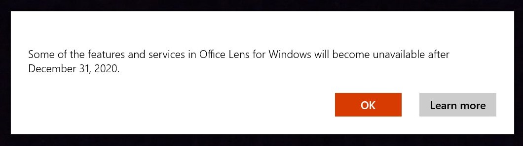 Office Lens message